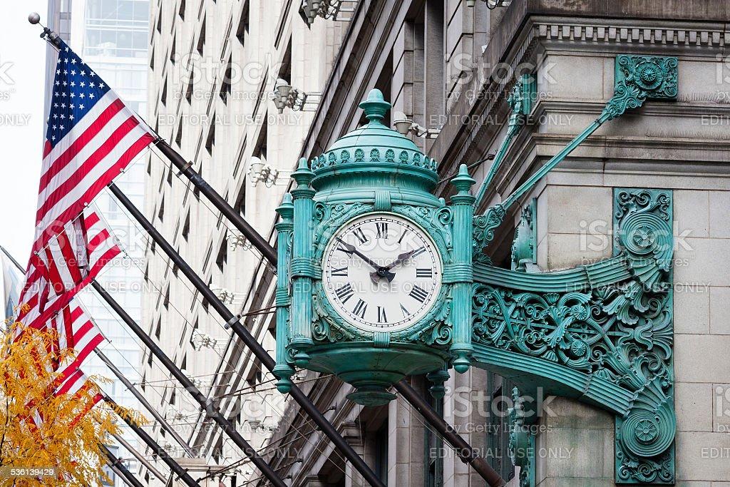 Marshall Field's Clock stock photo