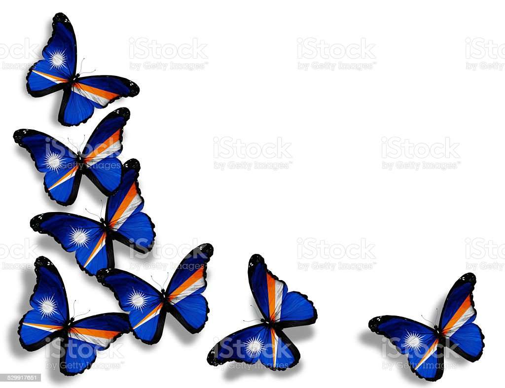 Marshall Islands flag butterflies, isolated on white background stock photo