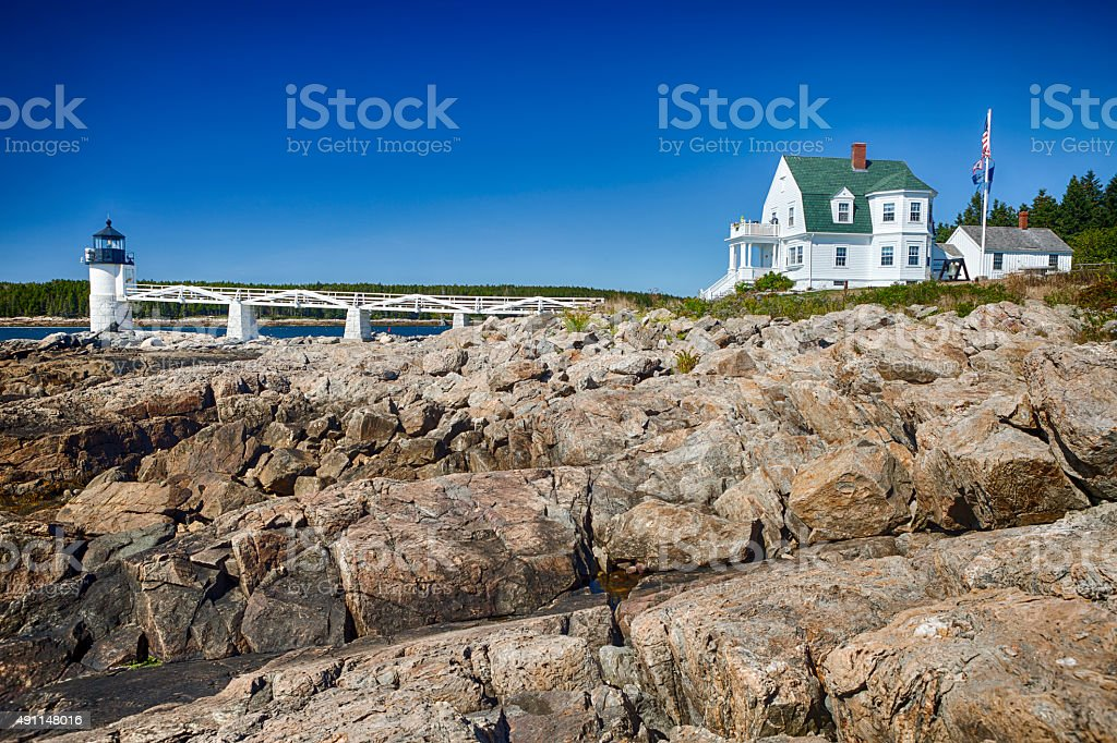 Marshall Point Light In Maine, USA stock photo