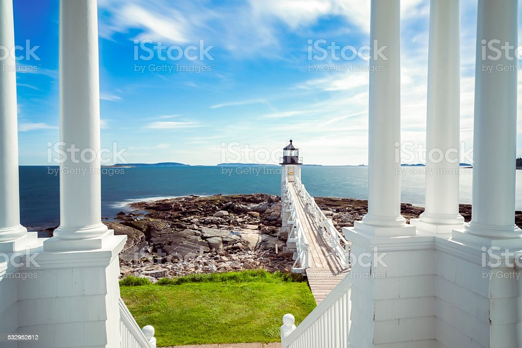 Marshall Point Light in Port Clyde, Maine stock photo