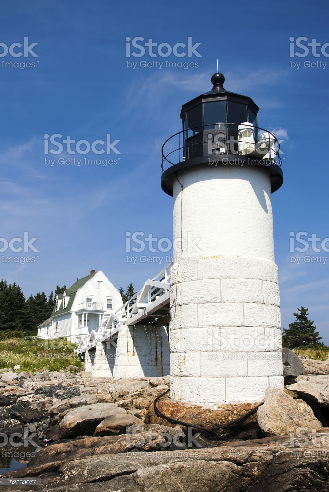 Marshall Point Light Station in Port Clyde, ME from rocks royalty-free stock photo
