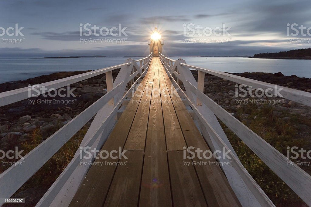 Marshall Point Lighthouse at sunset, Maine, USA royalty-free stock photo