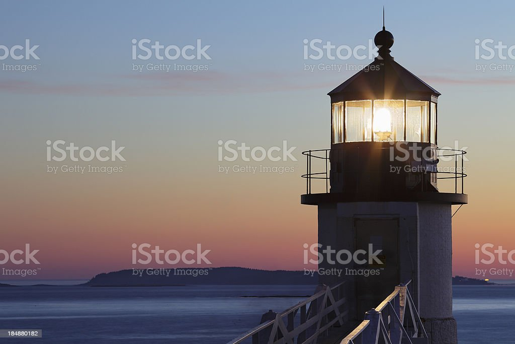 Marshall Point Lighthouse in Port Clyde, Maine stock photo