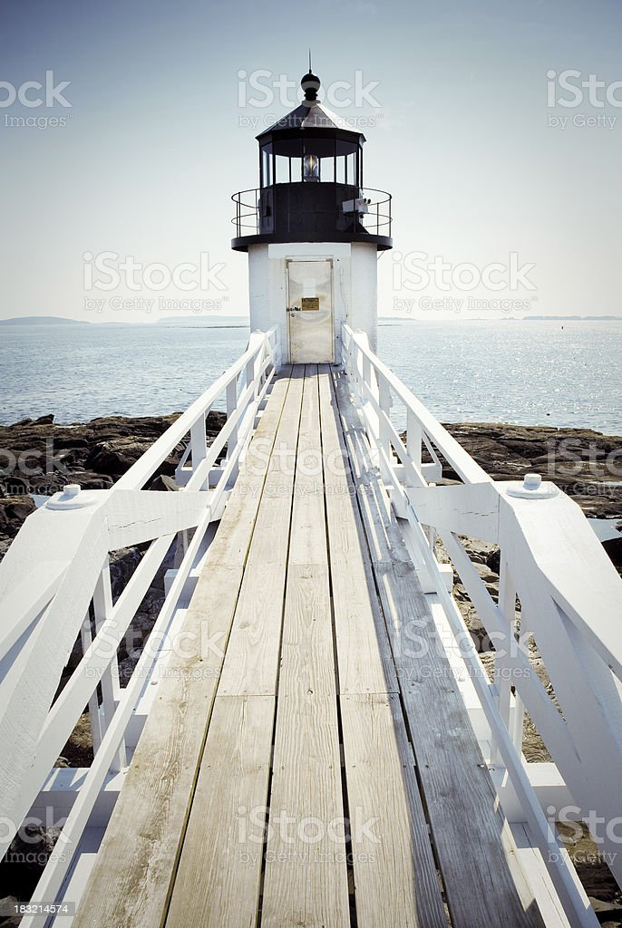 Marshall Point Lighthouse in Port Clyde, ME with ramp stock photo