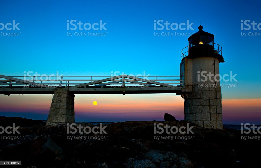 Marshall Point Lighthouse with Full Moon stock photo