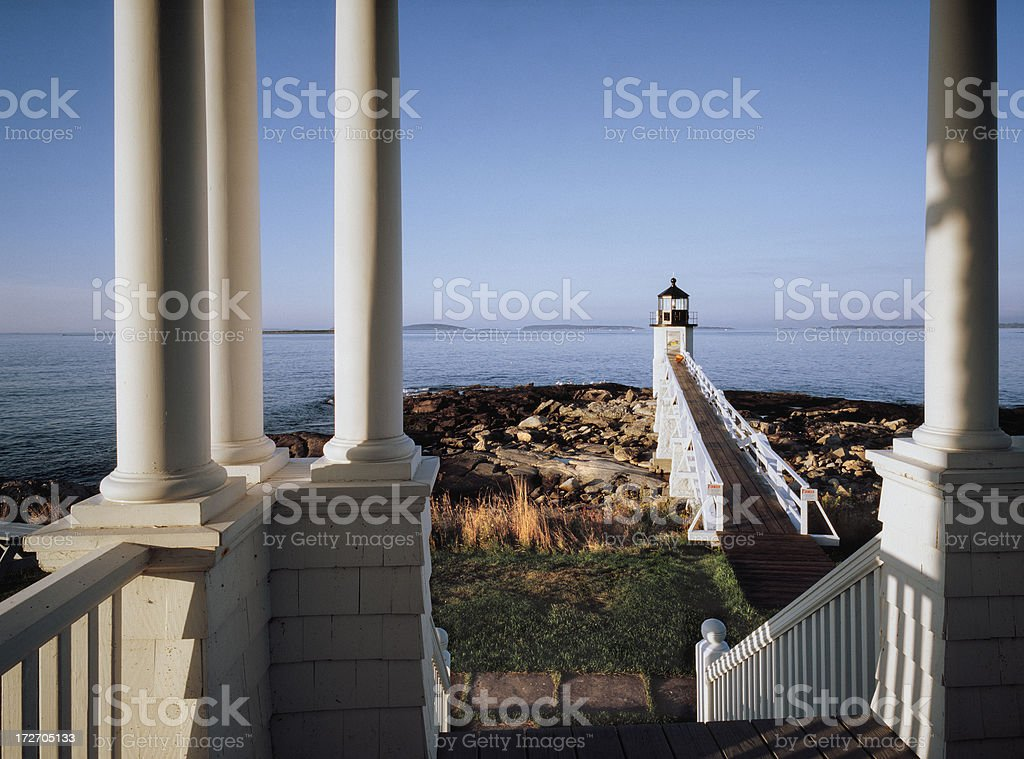 Marshall Point Lighthouse with Keeper's Porch royalty-free stock photo