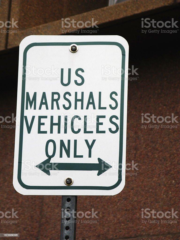 US Marshals Parking Sign stock photo