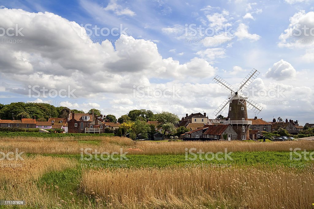 Marshes and mill royalty-free stock photo