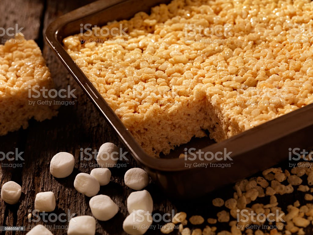 Marshmallow Crispy Rice Squares stock photo