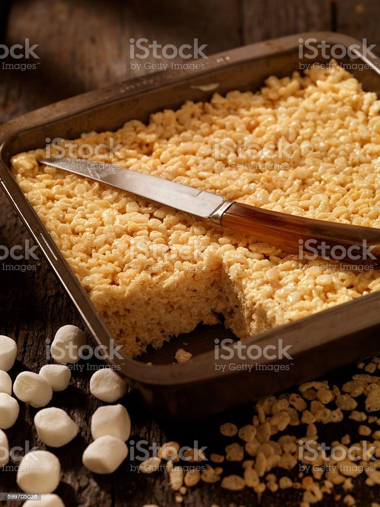 Marshmallow Crispy Rice Squares stock photo
