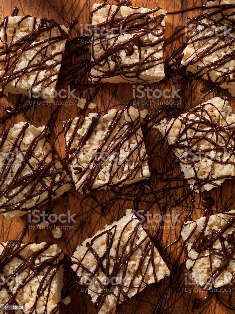 Marshmallow Crispy Rice Squares with Chocolate stock photo