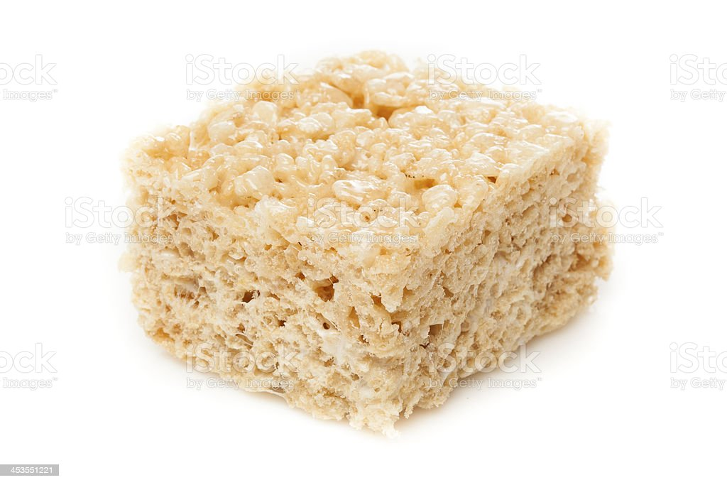 Marshmallow crispy rice treat against white background stock photo