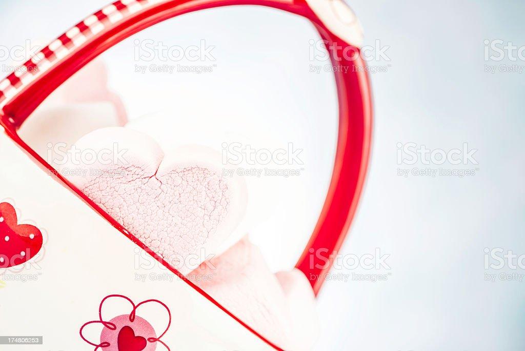 Marshmallow Hearts in DIsh royalty-free stock photo