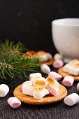 marshmallow on a black background, Christmas decor