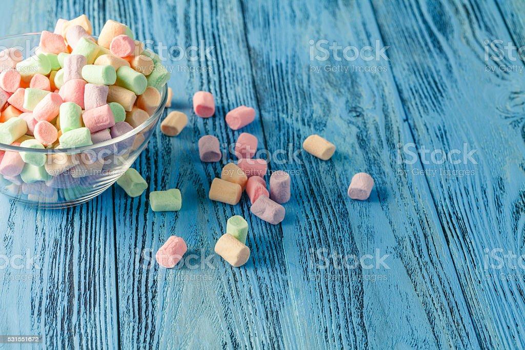 marshmallow on vibrant background stock photo
