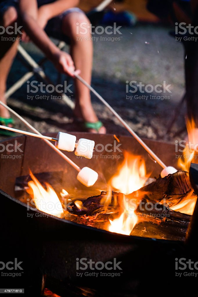 Marshmallow Roasted on a Fire Camp stock photo