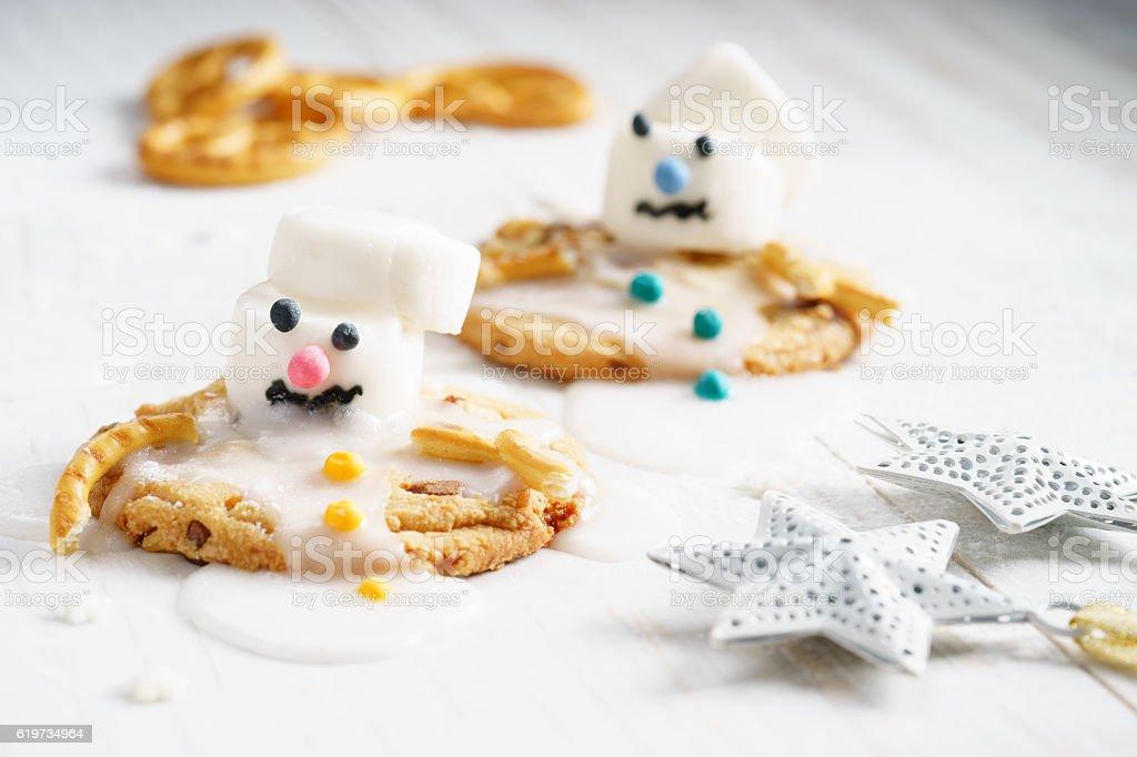 marshmallow snowman on cookies stock photo