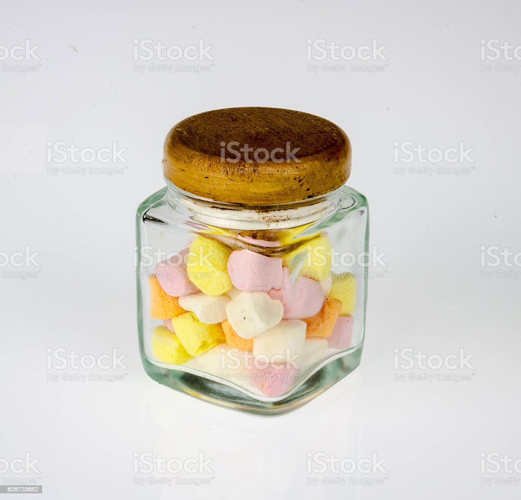marshmallows in beautiful glass on white background. stock photo