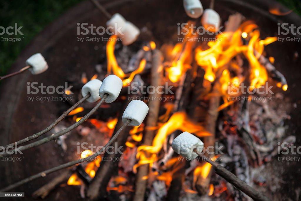 Marshmallows Roasting On An Open Fire Pit stock photo