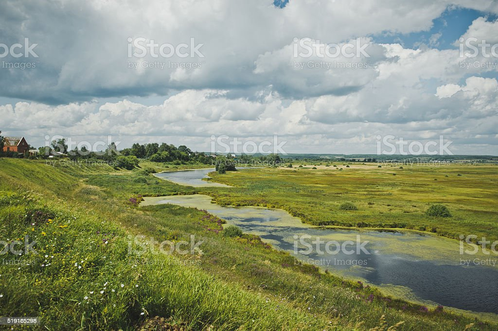 Marshy river flows through the field stock photo