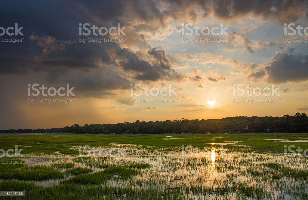 Marshy Sunset stock photo