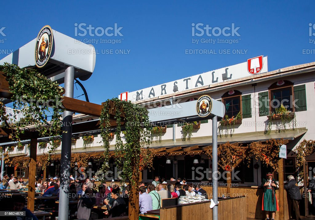 Marstall tent at Oktoberfest in Munich, Germany, 2015 stock photo
