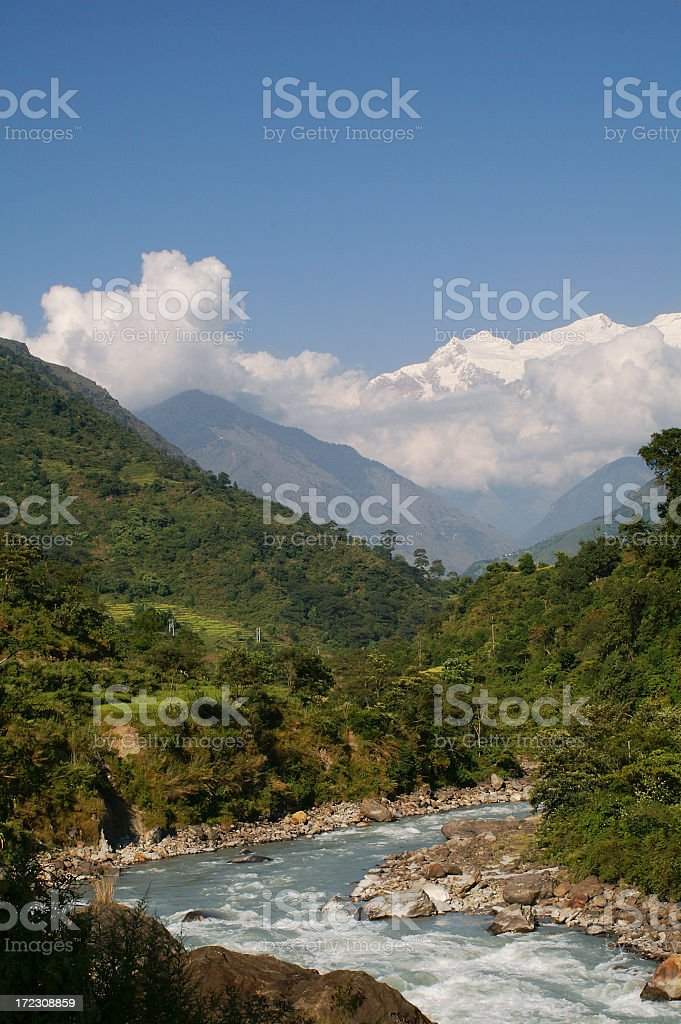 Marsyangdi River royalty-free stock photo