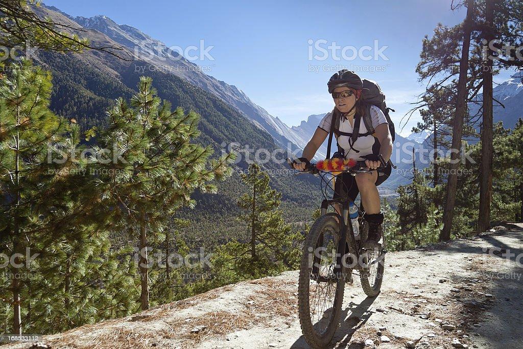 Marsyangdi uphill biking, Nepal royalty-free stock photo