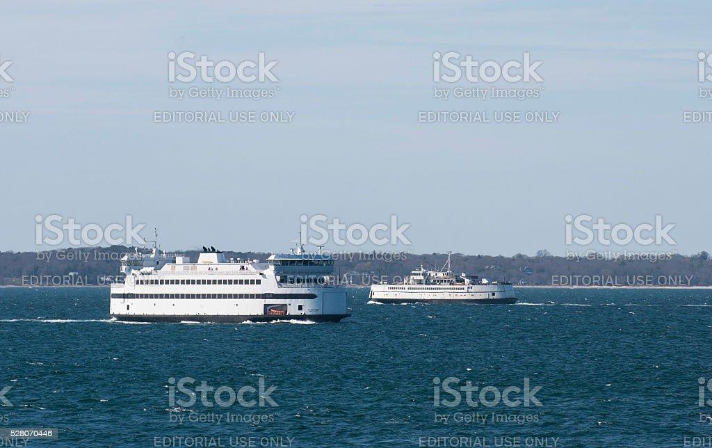Martha's Vineyard Ferry Boats stock photo