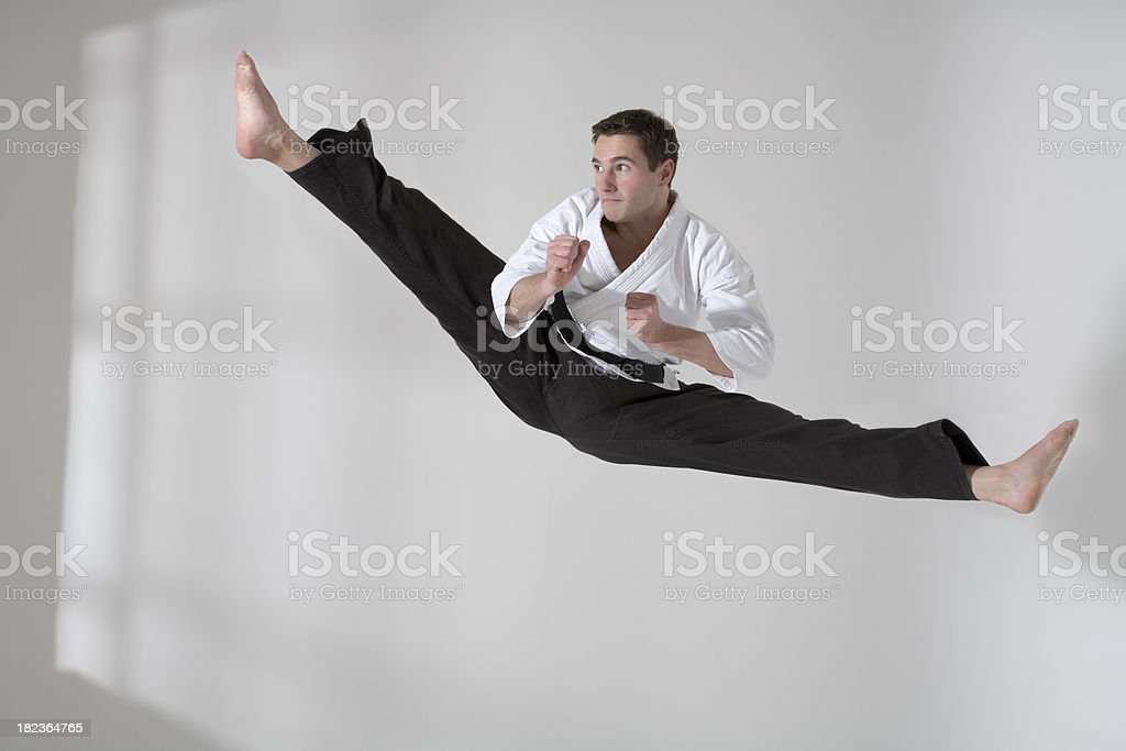 Martial artist jumping royalty-free stock photo
