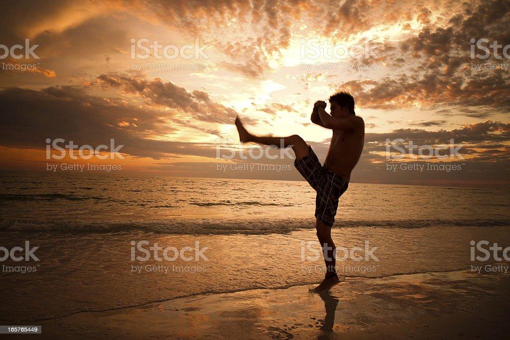 Martial artist kicks at sunrise stock photo