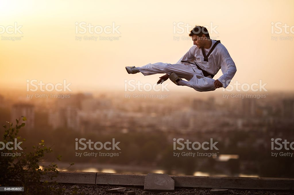 Martial artist performing high kick in mid air at sunset. stock photo