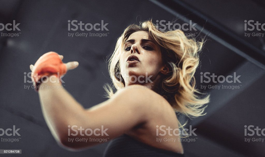 Martial Arts Champion Flexing stock photo