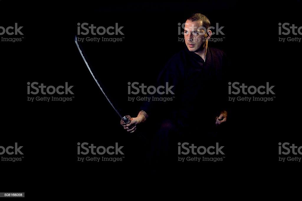 Martial Arts - Iaido sensei with sword stock photo