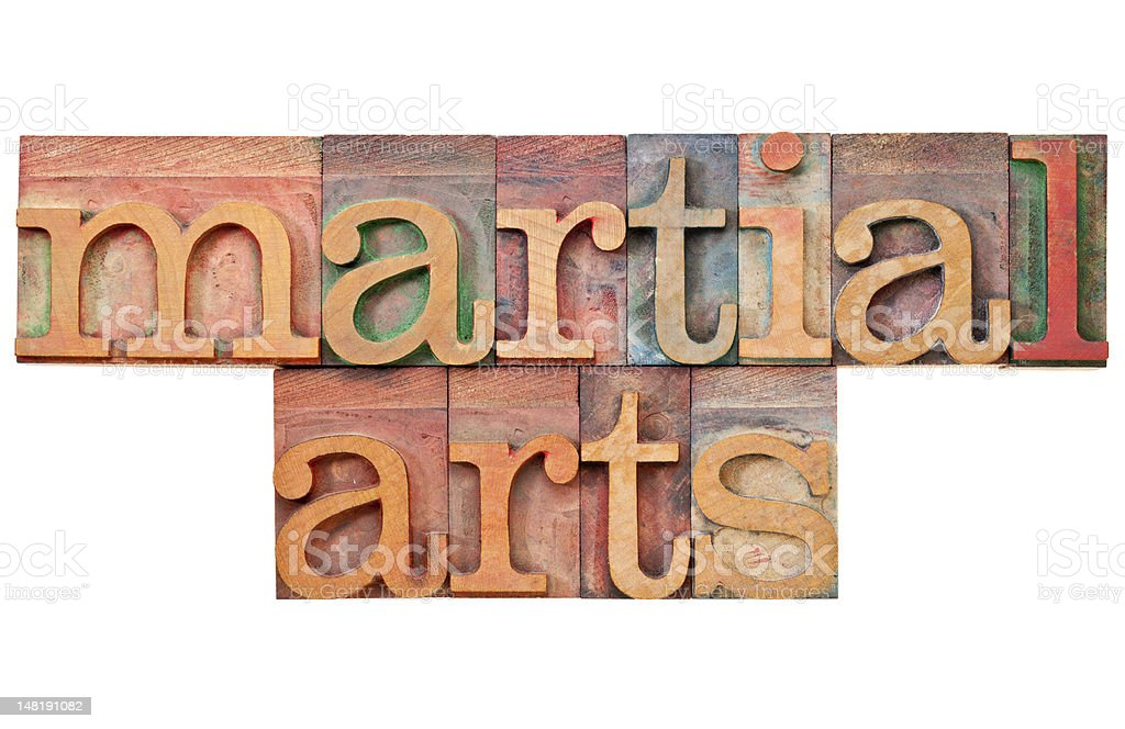 martial arts in letterpress type royalty-free stock photo