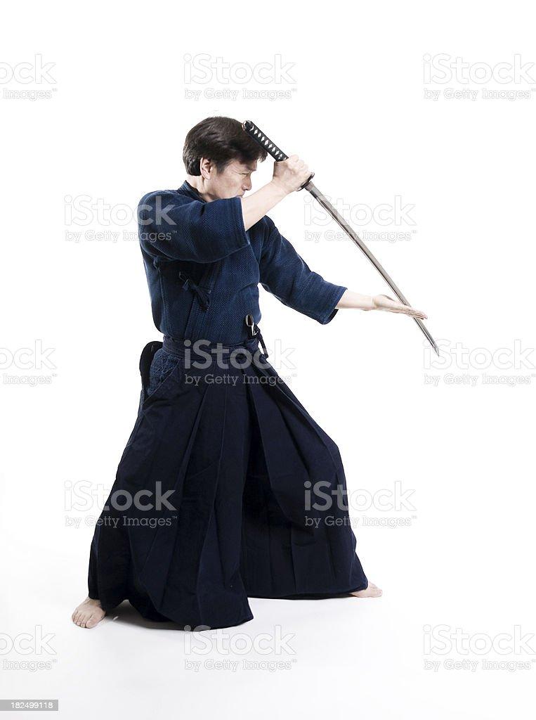 Martial Arts - Laido sensei with sword stock photo