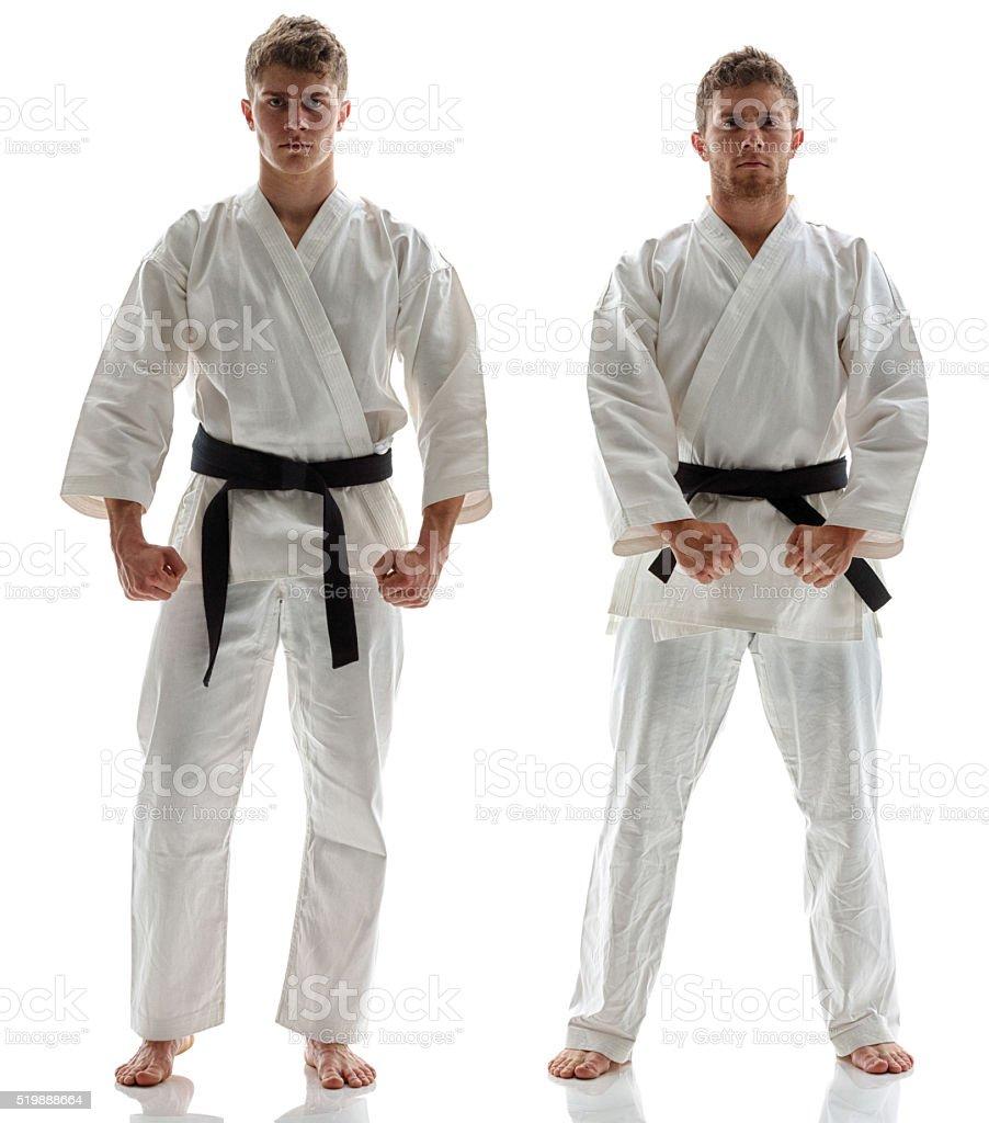 Martial arts players posing stock photo