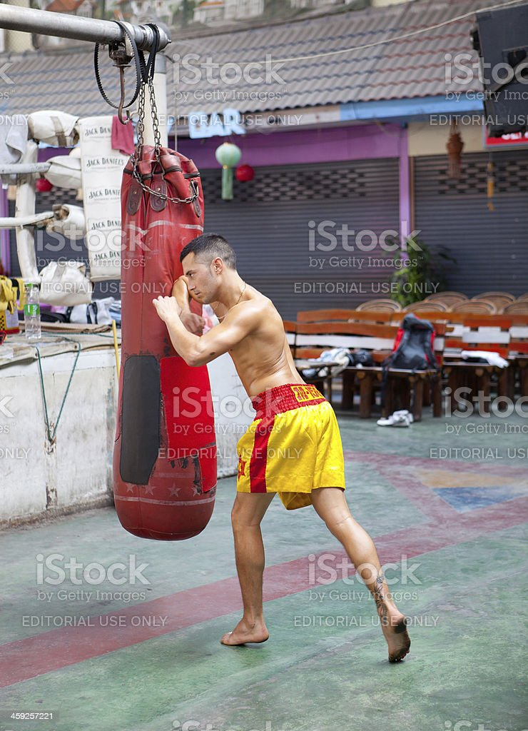 Martial arts practice in Thailand royalty-free stock photo