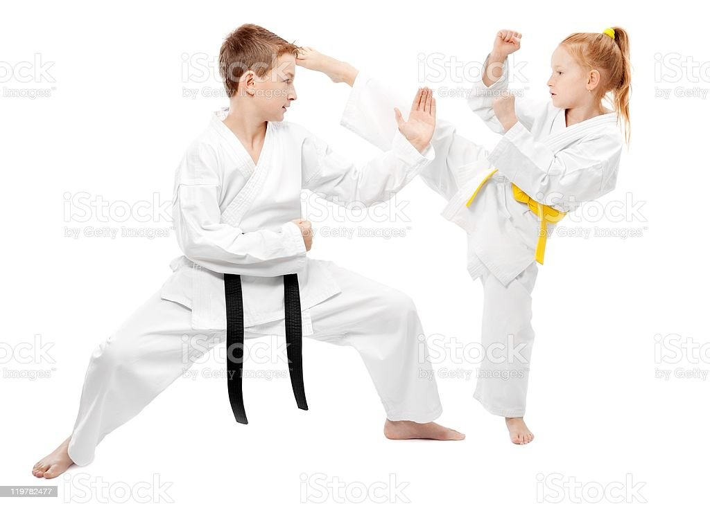 Martial arts sparring stock photo