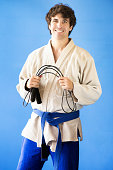Martial arts student portrait with skipping rope