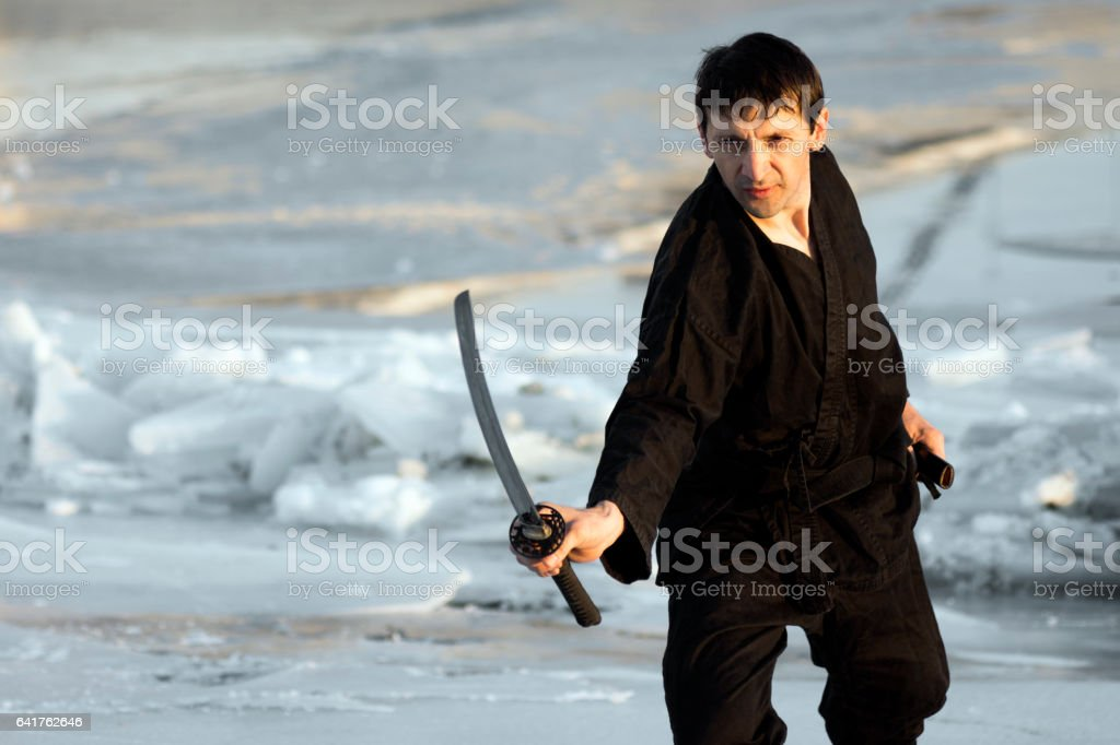 martial arts with sword stock photo