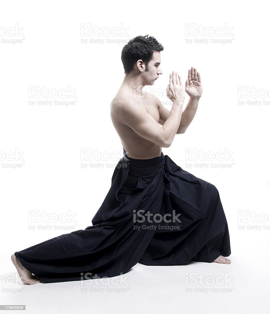 martial arts: young male  wearing kendo pants royalty-free stock photo