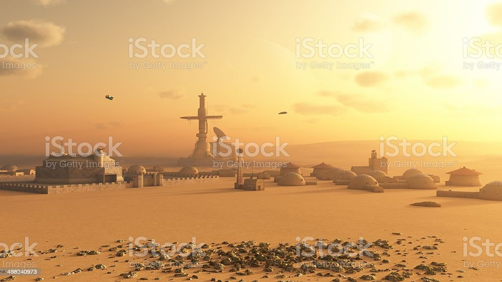 Martian Desert Colony stock photo
