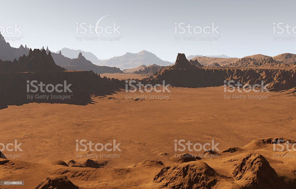 Martian landscape with craters and moon stock photo