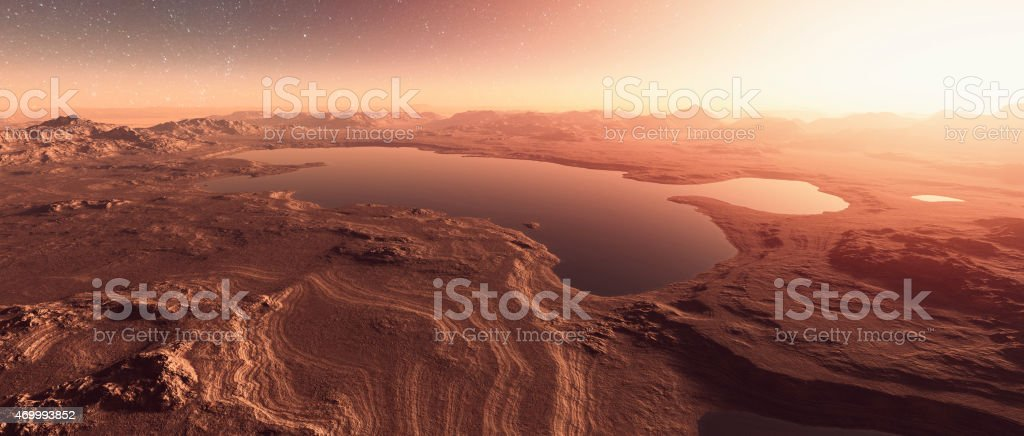 Martian landscape with lakes, water stock photo