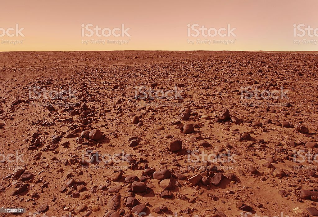 Martian-Like Landscape (Sahara Desert, Southern Morocco with Filter) stock photo