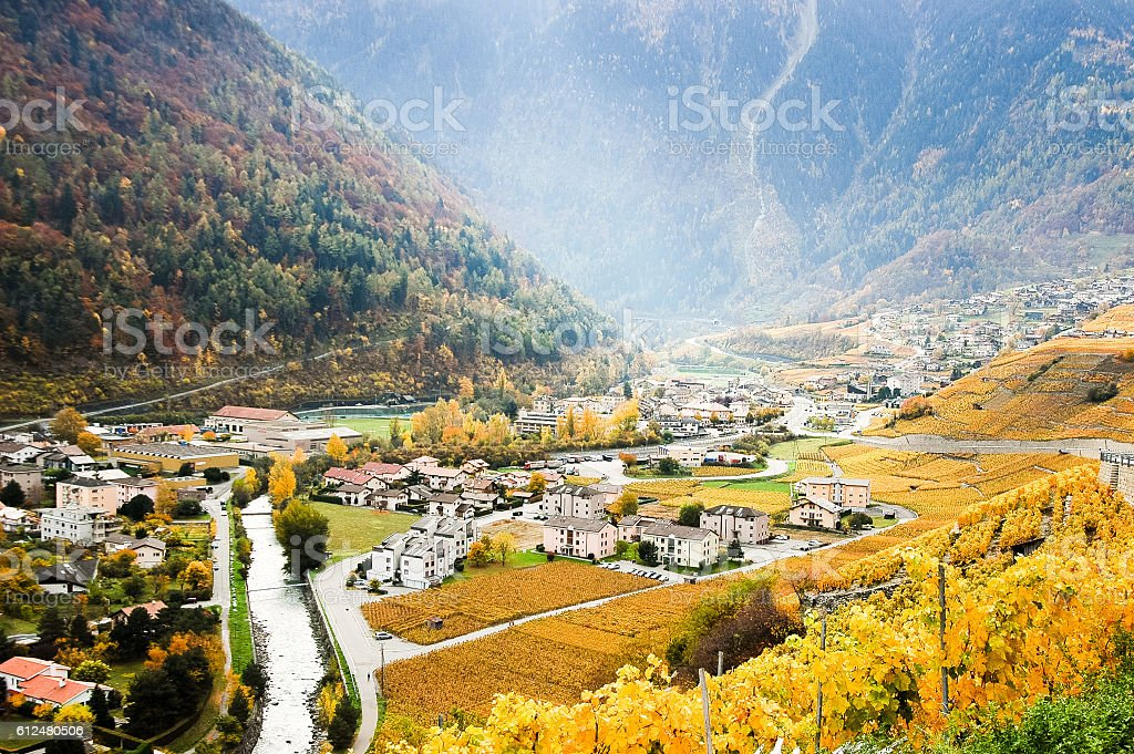 Martigny in the Rhone Valley, Switzerland stock photo