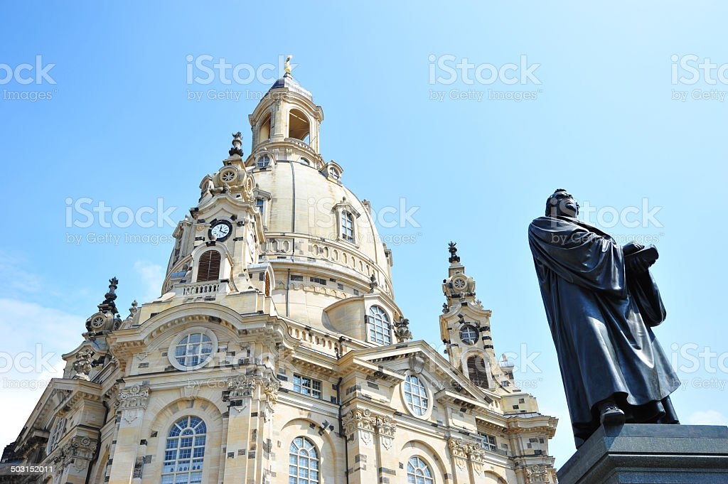 Martin Luther and Frauenkirche in Dresden stock photo