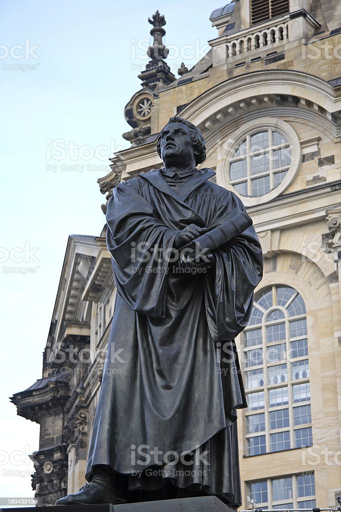 Martin Luther in Dresden stock photo
