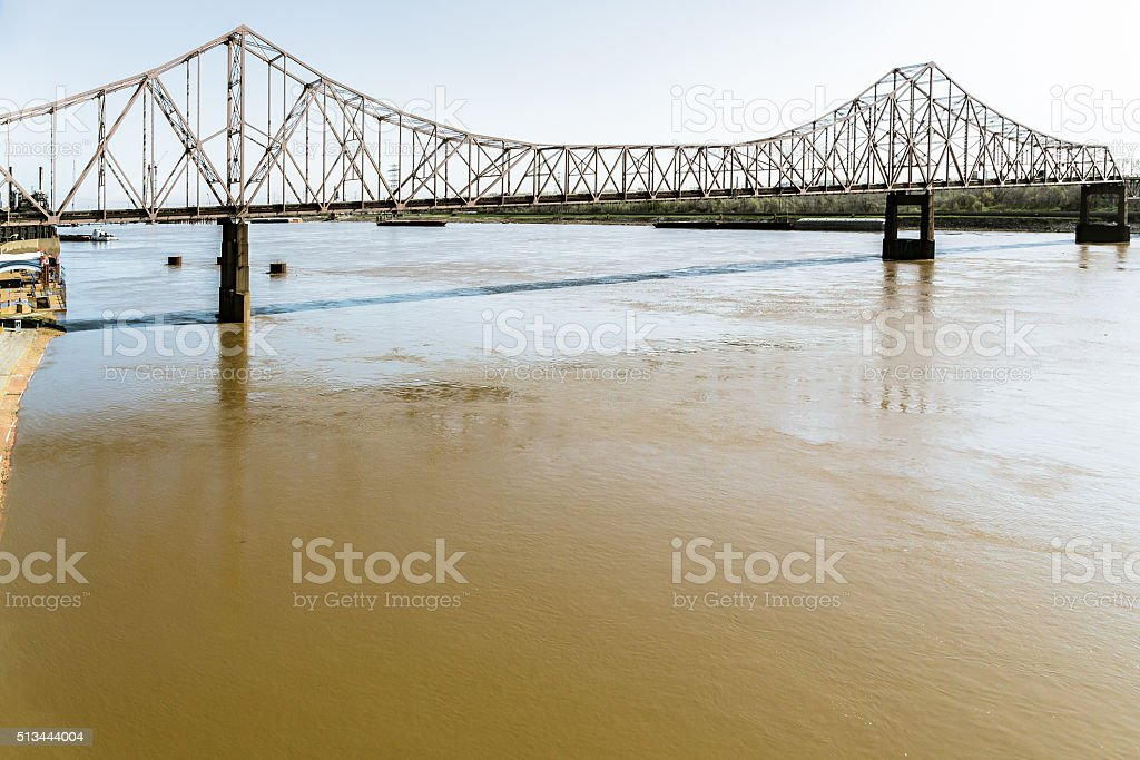 Martin Luther King Bridge over the Mississippi River stock photo